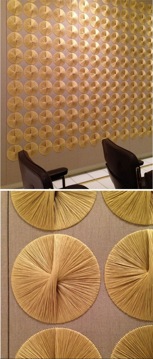 Sheila Hicks's fabric murals 1967 made for the Ford Foundation in New York in collaboration with Warren Platner - the murals were restored in 2014 by Sheila Hicks.