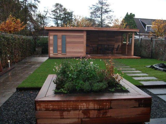 Tuinhuis met veranda,platdak, ceder, maatwerk., schuur, berging
