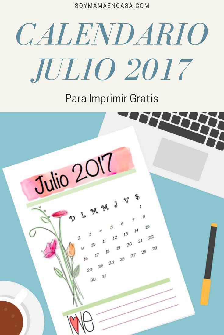 Calendario Julio 2017 para imprimir gratis =>PIN para guardar. Printables, imprimibles