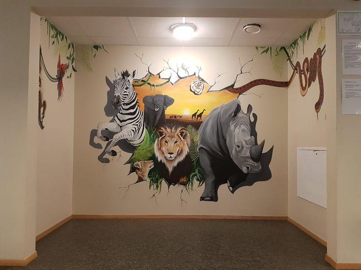 #mural#wild#wall#paint#animals#animal#africa#jungle#rhino#zebra#lion#cub#monkey#snake#parrot#geko#elephant#giraffe#sun