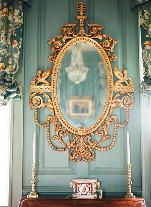 .: Bathroom Design, House Design, Mirror Mirror, Gold Mirror, Antiques Mirror, Wall Color, Design Interiors, Mirrormirror, Design Home