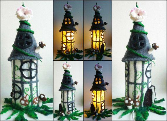 felted fairy lamp, tudor timbered house,  bedside lamp, night light, handmade, wool, felt, fairy light, Waldorf inspired