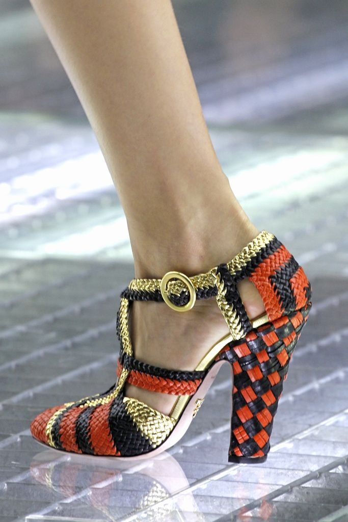leather basketweave prada shoe. oh let's