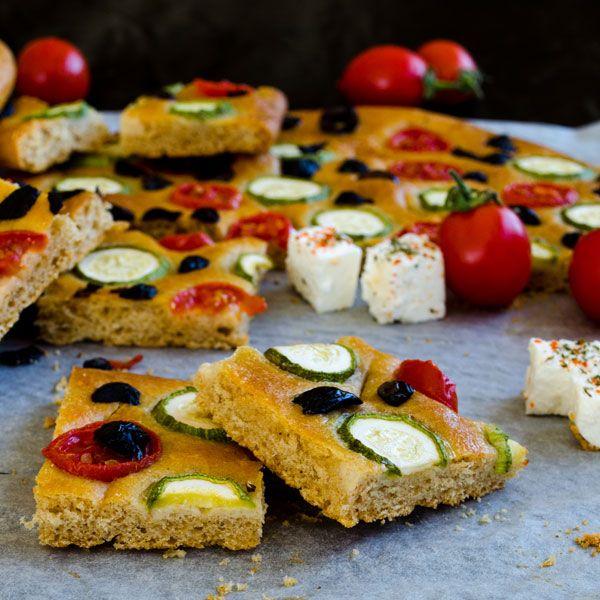 Zucchini and Tomato Focaccia Bread | giverecipe.com | #focaccia #zucchini #bread #baking