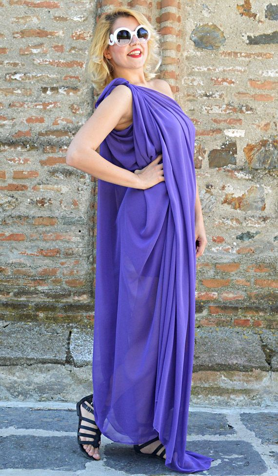 Extravagant Purple Kaftan, Loose Summer Maxi Dress, Purple Chiffon Dress, Asymmetrical Summer Dress TDK256, Carousel Collection