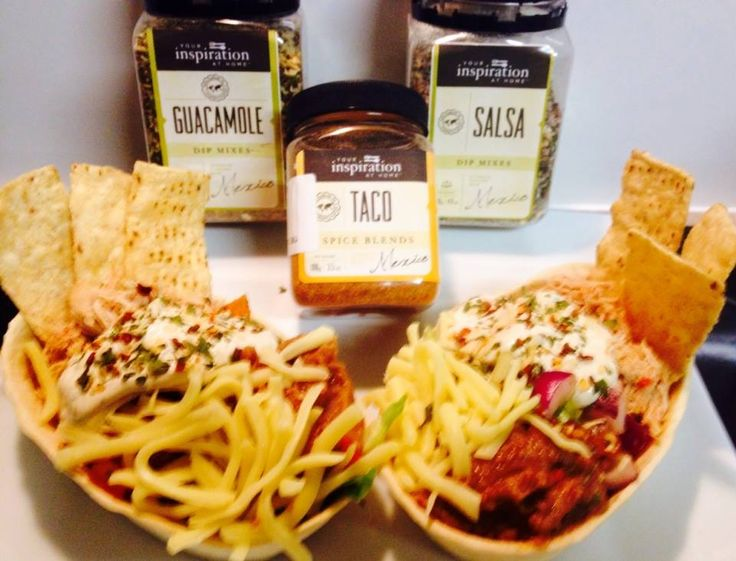 YIAH Taco shredded chicken YIAH Taco refried beans YIAH Guacamole YIAH Salsa Dig in with a few tortilla chips and you're done