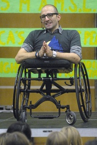 Spencer West, a motivational speaker with Free the Children spoke at Eastwood Collegiate Institute on Thursday. He talked about climbing Mt. Kilimanjaro without legs.