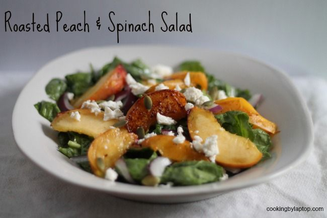 Rebecca Coleman shares a recipe for a roasted peach and spinach salad. #CDNcheese #simplepleasures