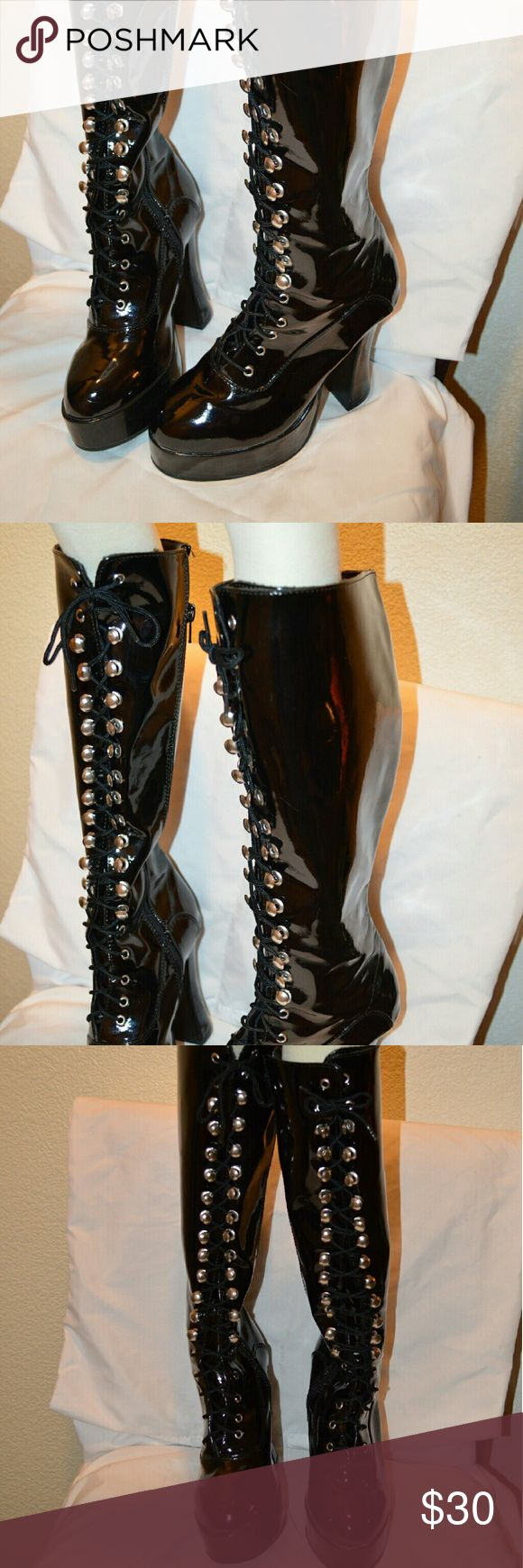 Latex boots Latex knee high boots Shoes Lace Up Boots