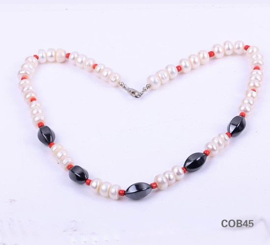 $7.95  Freshwater Light Pink Round Ball Black Beads Pearl Sterling Silver Clasp Necklace