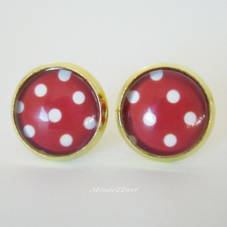 Rockabilly 1950s inspired Red & White Polka Dot Gold Stud Earrings - Gift Boxed available from Missie77art Jewellery on ebay