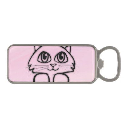 Cute Big Eyed Cat Pink Magnetic Bottle Opener  $17.95  by kahmier  - cyo diy customize personalize unique