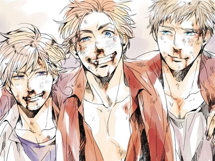 Norway, Denmark, Sweden Hetalia OMG Sweden is smiling!! SO CUTE~!