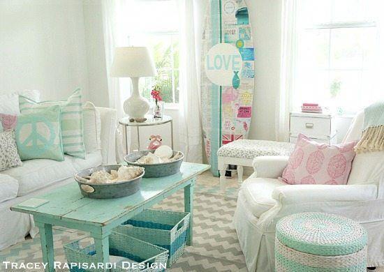 Pastel Turquoise Aqua Cottage Living Room Beachhousedecor Beach