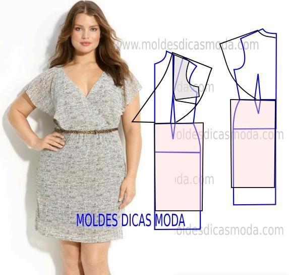 Molde de vestido elegante, simples e prático. Analise com atenção a sequência operatória da modelagem do vestido para poder fazer o molde.