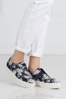 Кожаные ботинки ASH. Кожаные ботинки из коллекции знаменитого бренда Ash. Модель украшена сложным цветочным принтом и заклепками-шипами. Носим для создания образа в рок-стиле.