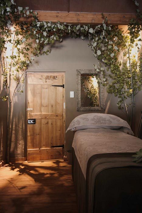 Rain Forest Day Spa bed - South Africa.  Interesting ideas to morph into daily living or seasonal decorating.