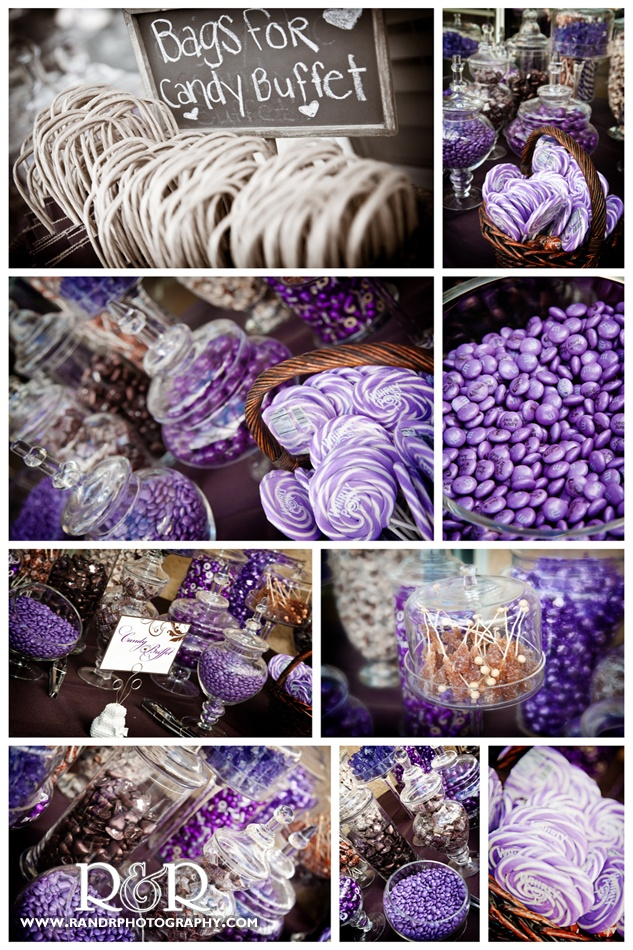Jennifer & Andy's purple and brown themed candy bar.