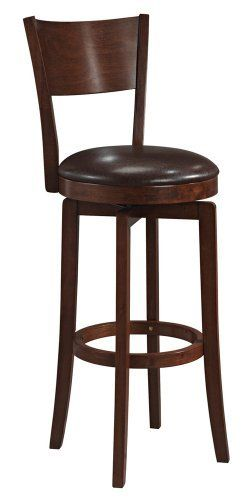 "Hillsdale Archer Swivel 30"" High Bar Stool by Hillsdale. $179.91. Color Brown. Other Dimensions 30 in. - Seat Height. Brown Finish. Style Transitional. Assembled Dimensions 44 in. H x 18 in. D x 18 in. W. The Archer Hillsdale bar stool features a dark walnut finish and a dark brown faux leather seat. This barstool also includes a 360 degree swivel seat and is decorated with a transitional arched back design. Enhance your home with this handsome barstool design. Great ..."