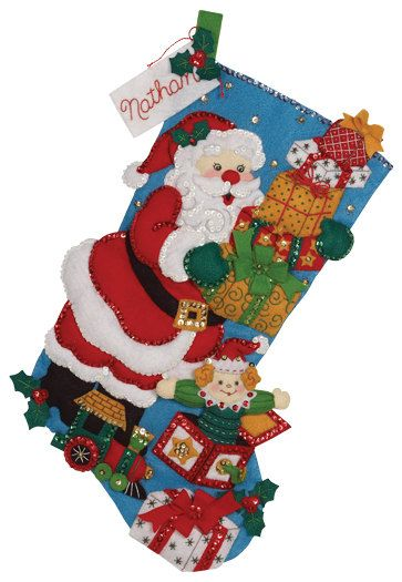 Finished Handcrafted Bucilla Felt Christmas Stocking by AidensLove, $105.00