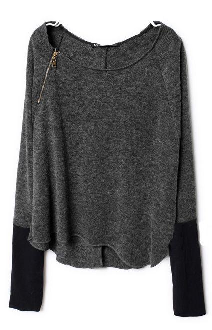 Dark Grey Zippered Curved Hem Jumper