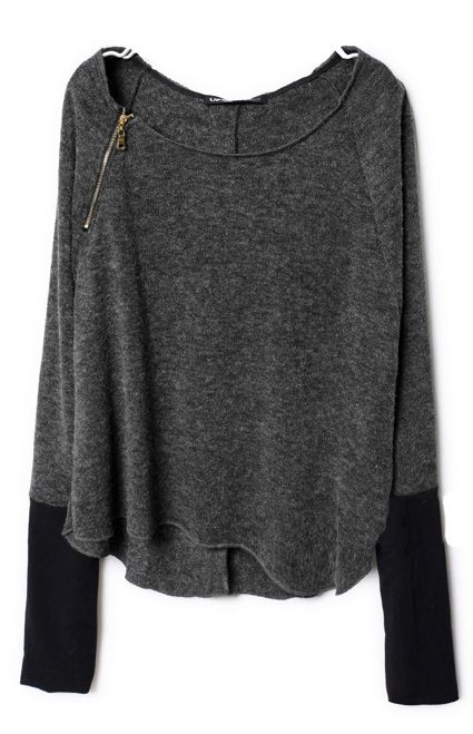Dark Grey Zippered Curved Hem Jumper #SheInside