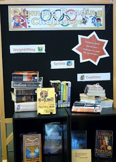 Library Displays: Olympic Reading Challenge  Weightlifting - a book of more than 450 pages  Marathon - read for one hour straight  Triathlon - three books of different genre  Relay - you and two friends read the same book  Modern Pentathlon - Five books of different genres