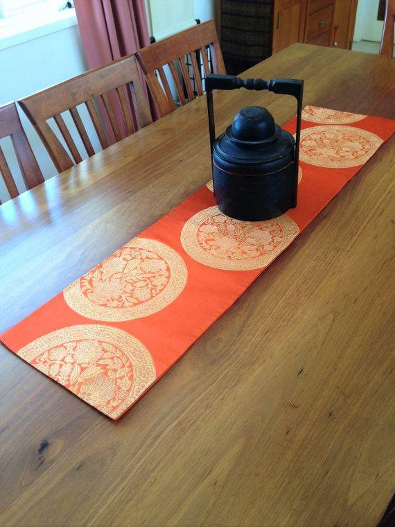 Vintage Japanese Obi Table Runner  Orange  Gold  120cm by Setsuri