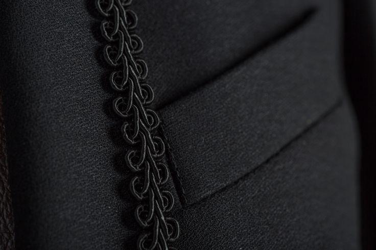 Collar detail on a ladies dinner jacket. #ladiesjacket #dinnerjacket #handcrafted #bespokenov