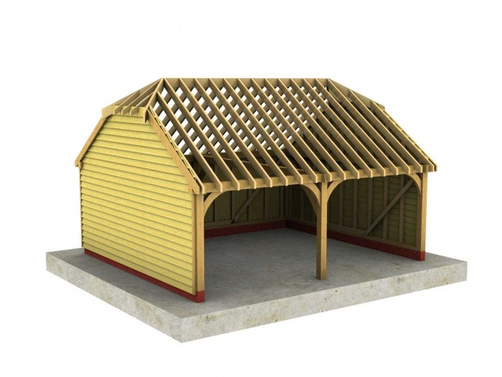 2 Bay B-Depth Garage with Half-Hipped Roof