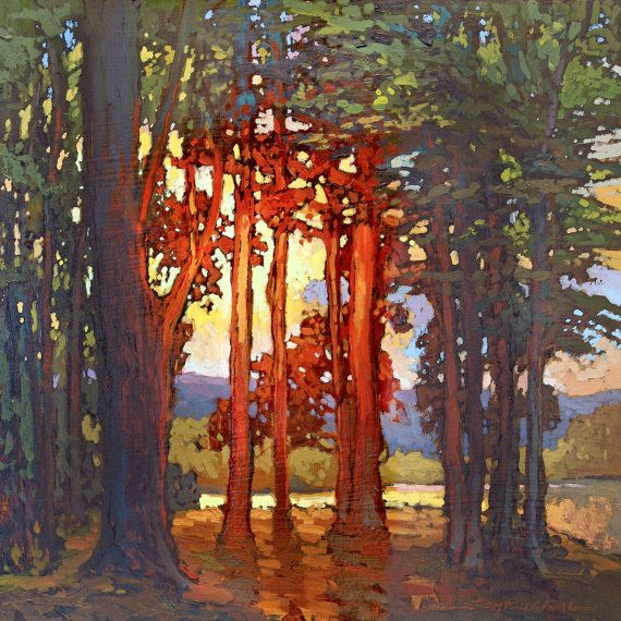 New - Mission Arts and Crafts CRAFTSMAN LAKE Sunset - Giclee Art PRINT of Original Painting matted 12x12 by Jan Schmuckal