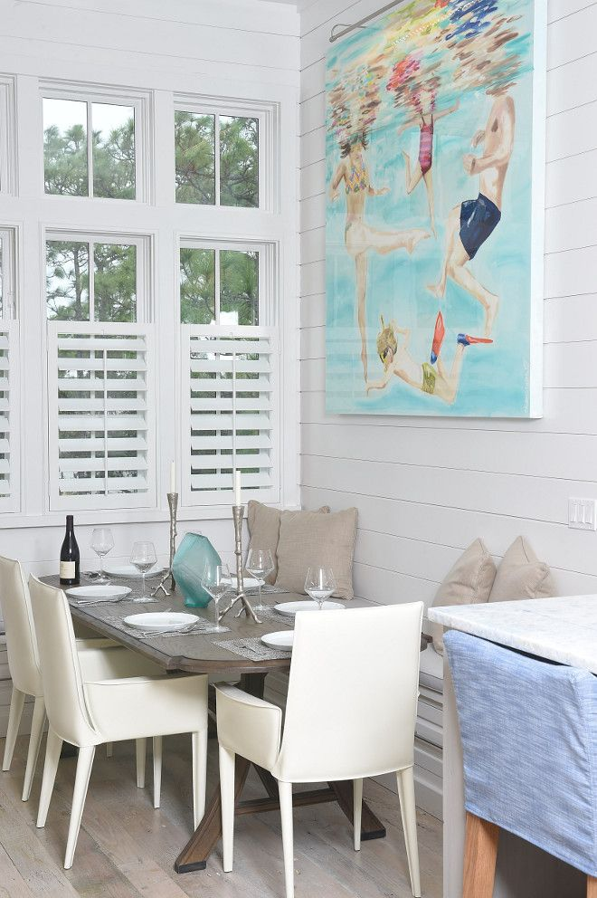 Breakfast nook. The breakfast nook is perfect for this family of four. I love the window shutters and the shiplap walls. Interiors by Courtney Dickey of TS Adams Studio.