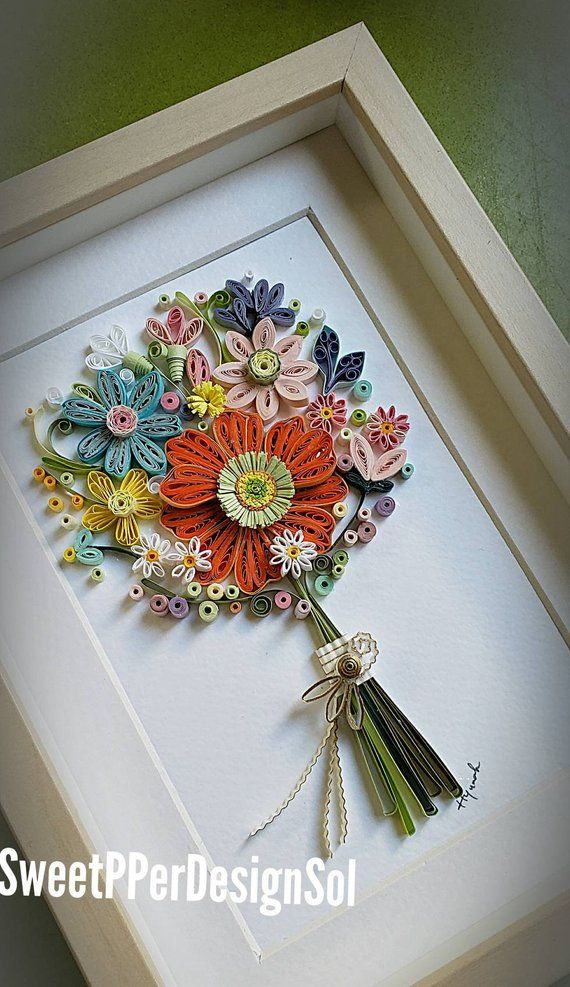 Paper Quilling Art Paper Flower Frame Art Wedding Bridal Etsy