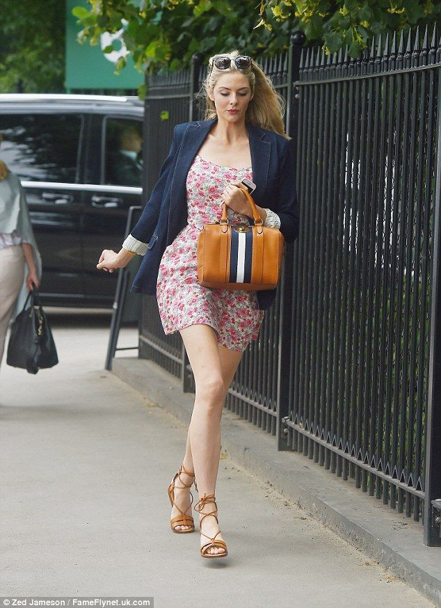 Hurry! Tamsin Egerton sprinted in Wimbledon for the opening matches of Monday morning...