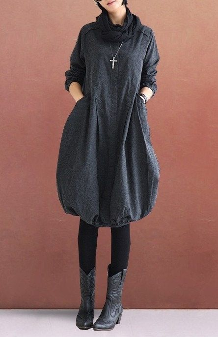 Dark gray Loose fitting Maxi dress Linen dress Cotton dress Lantern skirt Seven point sleeve blouse -Spring, Autumn for Women C2 on Etsy, $66.00