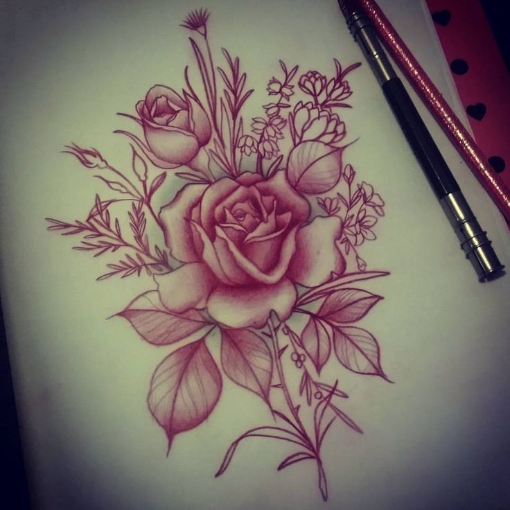 Live Life With No Regrets Tattoo Sketches Drawing Art: I Love The Softness Of This Piece. Adding Soft Roses And