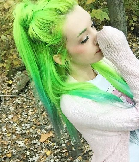 Neon Green hair Beauty: Fantasy Unicorn Purple Violet Red Cherry Pink Bright Hair Colour Color Coloured Colored Fire Style curls haircut lilac lavender short long mermaid blue green teal orange hippy