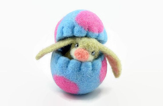 Easter Bunny in a Wool Easter Egg, Wool Toy, Surprise Egg