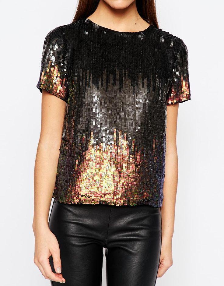 Bild 3 von New Look – T-Shirt mit Pailletten und Farbverlauf