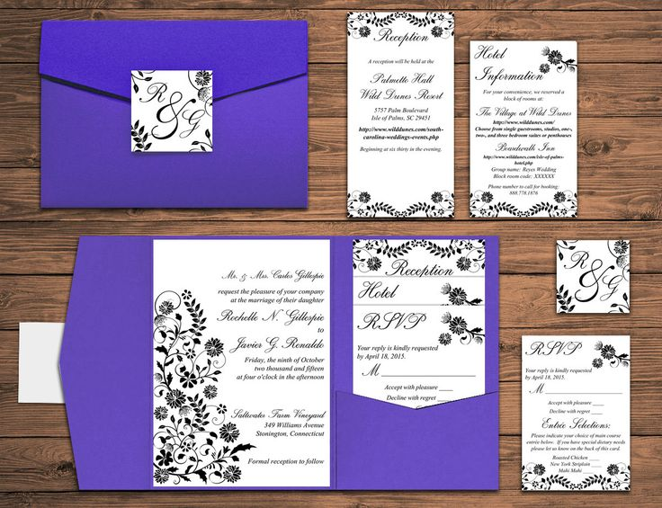 "DEPOSIT: Wedding Pocketfold Invitation Suite - Floral Wedding Invitation - Grape Jelly ""Rochelle"" Garden Invitation Set ANY Color 
