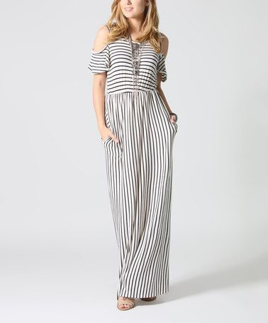 Look what I found on #zulily! Ivory & Black Stripe Shoulder Cutout Maxi Dress #zulilyfinds