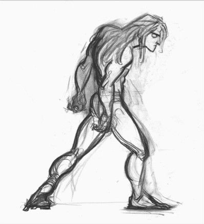 "Concept art of Tarzan from Disney's ""Tarzan"" (1999) by artist Glen Keane."