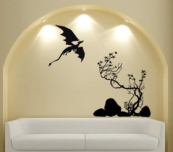 fantasy landscape dragon tree wall decal airplane vinyl sticker wall decor home interior design art mural - Design Stickers For Walls