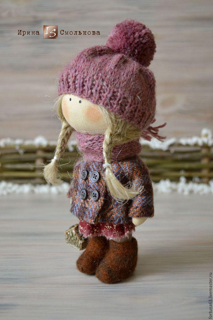 Купить куколка малышка Маня - бордовый, кукла, кукла текстильная, текстильная кукла