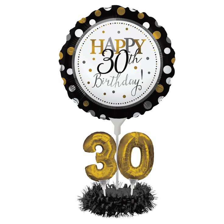 Air Filled Balloon 30th Birthday Centerpiece Kit/Case of 4