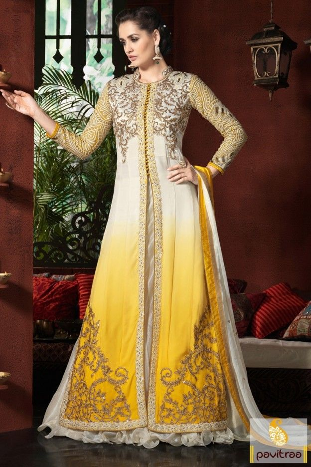 Yellow Color Pakistani Bridal Anarkali Salwar Suit #salwarsuit, #bridaldress more: http://www.pavitraa.in/catalogs/vintage-anarkali-dresses-collection/?utm_source=rn&utm_medium=pinterestpost&utm_campaign=8july