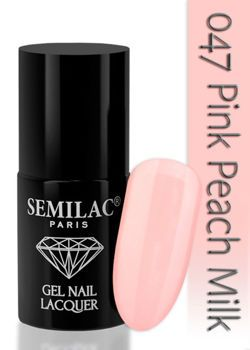 SEMILAC Hybrydowy Lakier Do Paznokci 6ml - 047 Pink Peach Milk