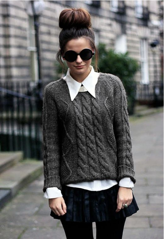 While I dislike that skirt with that outfit, (which would go much better with jeans or a longer black skirt) I love the sweater! And the collar! And the bun!