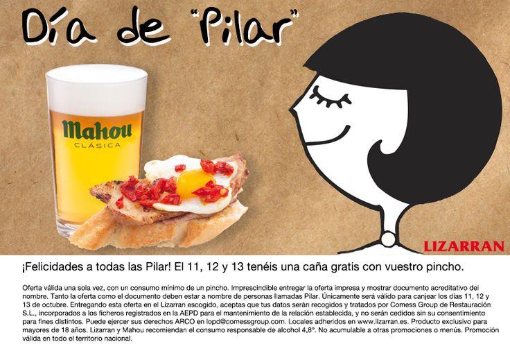 Si te llamas Pilar, los días 11, 12 y 13 de octubre te invitamos a una caña. Pincha en la imagen para obtener la oferta: