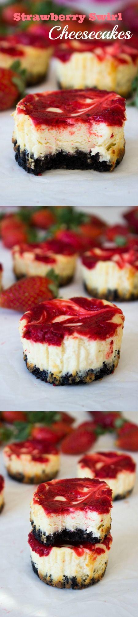 Mini Strawberry Swirl Cheesecakes. The perfect dessert recipe.